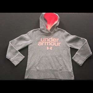 Girls Under Armour hot pink and gray hoodi…